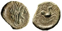 "Ancient Coins - Iberia (Gaul) Neronken AE27 ""Veiled Female & Bull, Wreath & Crescent"" Rare EF"
