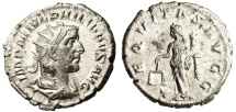 "Ancient Coins - Philip I Silver Antoninianus ""Aequitas With Scales"" About EF RIC 27b"