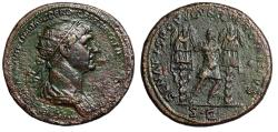 "Ancient Coins - Trajan Dupondius ""Triumphant Emperor Between Two Trophies"" RIC 676 gVF"