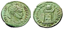 """Ancient Coins - Constantine I The Great AE19 """"Helmeted Bust & Altar"""" Trier RIC 368 Green Patina"""