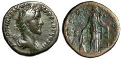 """Ancient Coins - Antoninus Pius AE Sestertius """"ANNONA AVG Annona, Prow"""" Rome RIC 597b Good Fine"""