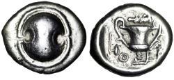 "Ancient Coins - Boeotia, Thebes AR Hemidrachm ""Boiotian Shield & Kantharos, Club & Axe"" VF"