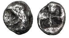 """Ancient Coins - Ionia, Teos AR Hemitetartemorion """"Gryphon Head & Quadripartite Incuse"""" Rare"""