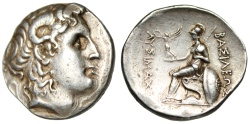 "Ancient Coins - Lysimachos of Macedon Silver Tetradrachm ""Alexander III & Athena Seated"" Rare EF"