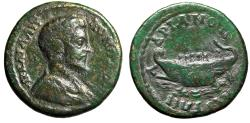 """Ancient Coins - Commodus AE24 of Hadrianopolis, Thrace """"Galley with Five Oarsmen"""" Near VF"""