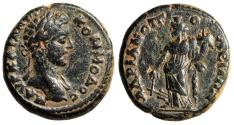 """Ancient Coins - Commodus AE19 of Hadrianopolis in Phrygia """"Tyche, Rudder"""" Very Rare gVF"""