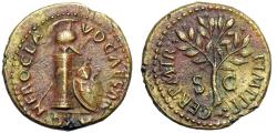 "Ancient Coins - Nero AE Quadrans ""Column, Helmet Gorgon Shield & Olive Branch"" RIC 250 Choice EF"