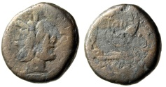 "Ancient Coins - Republic AE As TOD Series ""Janus & Prow, TOD and Bird"" Extremely Rare Type"