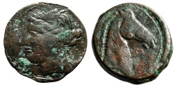 "Ancient Coins - Zeugitania, Carthage AE27 (Trishekel) ""Head of Horse, Caduceus / Tanit"" Scarce"