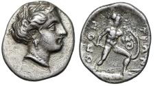 "Ancient Coins - Lokris, Lokris Opuntii AR Hemidrachm ""Demter & Ajax, Coiled Serpent Shield"" nEF"