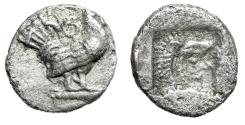 "Ancient Coins - Thrace, Dikaia AR Trihemiobol ""Cock Right, Theta & Herakles in Incuse"" Rare"