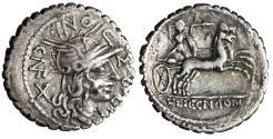 """Ancient Coins - L Pomponius CN F AR Denarius """"Roma, Gallic Warrior (Bituitus?) Biga"""" Narbo 118AD"""