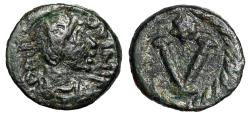 """Ancient Coins - Justinian I AE Pentanummium """"Large V, Star"""" 527-565 AD Scarce About VF"""