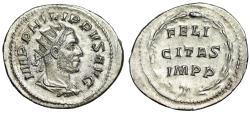 """Ancient Coins - Philip I AR Antoninianus """"FELICITAS IMPP Within Wreath"""" Rome RIC 60 EF"""