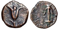 "Ancient Coins - John Hyrcanus I For Antiochos VII AE Prutah ""Lily & Anchor"" Jerusalem 132-131 BC"