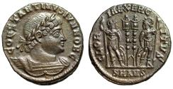 "Ancient Coins - Constantine II as Caesar ""GLORIA EXERCITVS Two Soldiers"" Antioch RIC 87 EF"