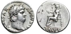 "Ancient Coins - Nero AR Silver Denarius 66-67 AD ""Salus (Salvation) Enthroned"" RIC 67 Good VF"