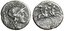 "Ancient Coins - C Terentius Lucanus AR Denarius ""Roma, Crowned by Victory / Dioscuri Horses"" gVF"