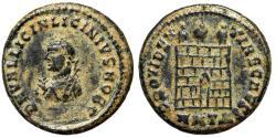 "Ancient Coins - Licinius II AE18 ""Small Portrait & Camp Gate"" Heraclea 318-320 AD RIC 19 VF"