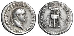 "Ancient Coins - Titus AR Denarius ""Tripod, Dolphin Above"" 80 AD RIC 128 Good Fine"