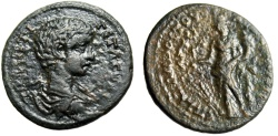 "Ancient Coins - Geta AE25 ""Tyche With Cornucopiae & Rudder"" Phrygia Apameia Very Rare VF"