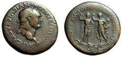 "Ancient Coins - Vespasian AE Sestertius ""Titus & Domitian Caesars"" Lyons RIC 1132 Very Rare"