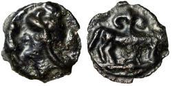 "Ancient Coins - Celtic Northeastern Gaul, Leuci BI Potin ""Helmeted Head & Bull, Flower"" Good VF"