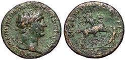 "Ancient Coins - Trajan AE Sestertius ""Emperor on Horse, Killing Dacian"" RIC 534 Good VF"