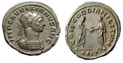 """Ancient Coins - Aurelian AE Antoninianus """"CONCORDIA MILITVM, Clasping Hands"""" RIC 244 Good EF"""