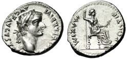 "Ancient Coins - Tiberius ""Tribute Penny"" Silver Denarius ""Seated Livia"" RIC 30 About FDC Lustrous"