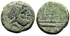 "Ancient Coins - C Curiatius F Trigeminus  AE Semis ""Saturn & Prow, Victory With Wreath"" VF"