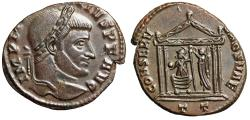 """Ancient Coins - Maxentius AE Follis """"Roma in Temple, Crowned by Victory"""" Ticinum RIC 109 Rare"""