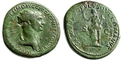 "Ancient Coins - Trajan Dupondius ""Felicitas, Caduceus"" Rome RIC 635 Good Fine Green Gem-like Patina"