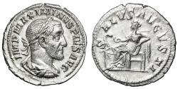 "Ancient Coins - Maximinus I Thrax AR Denarius ""SALVS AVGVSTI Salus Seated"" RIC 14 Good VF"