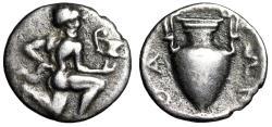 "Ancient Coins - Islands off Thrace, Thasos AR Trihemiobol ""Satyr Running, Kylix & Amphora"" gF"