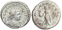 "Ancient Coins - Maximian Silvered Antoninianus ""PAX AVGG Pax, Branch"" Lugdunum 289-290 AD nEF"
