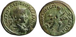 """Ancient Coins - Gordian III AE26 """"Artemis Running With Bow & Hound"""" Hadrianopolis, Thrace"""