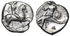 "Ancient Coins - Calabria, Tarentum AR Didrachm ""Warrior Horseback, Hippocamp Shield & Shell"" gVF"