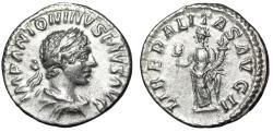 """Ancient Coins - Elagabalus AR Denarius """"Liberalitas, Abacus"""" Rome 221 AD RIC 100 VF"""