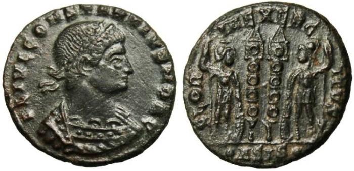 "Ancient Coins - Constantius II as Caesar, AE3 ""Roman Soldiers"" Siscia gVF RIC 237"