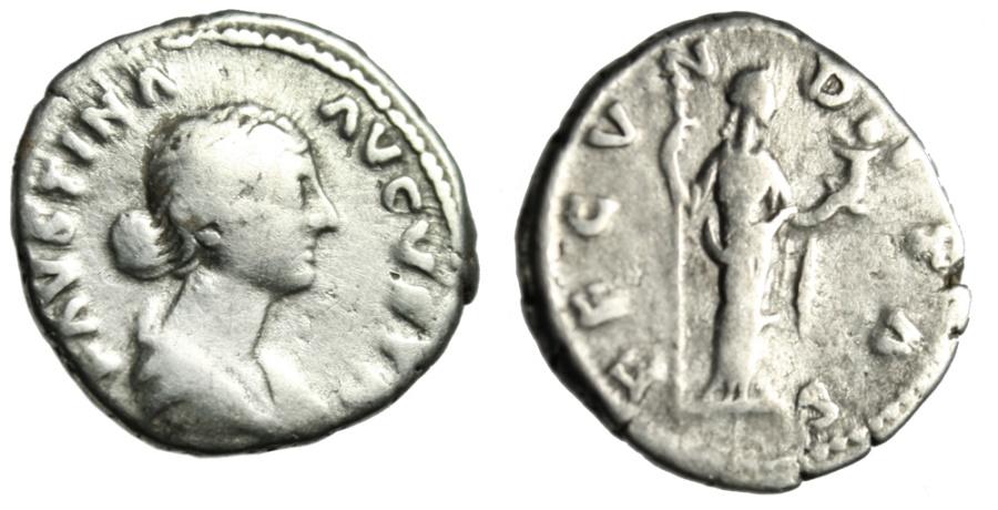 "Ancient Coins - Faustina II AR Denarius ""FECVNDITAS Fecundity Holding Infant"" RIC 677 Near Fine"