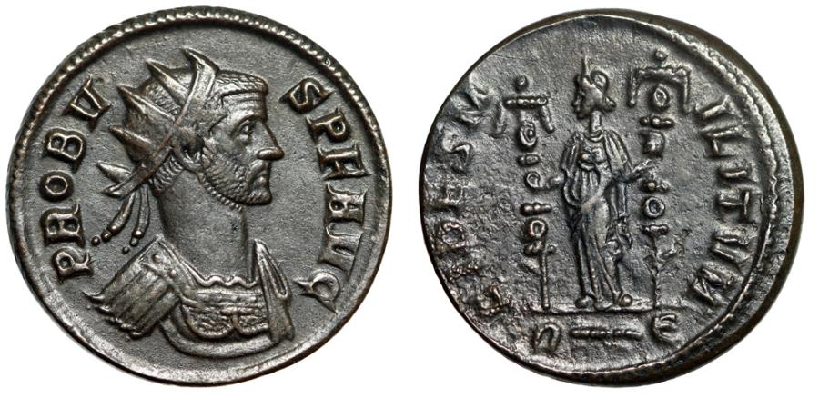 "Ancient Coins - Probus AE Antoninianus ""FIDES MILITVM Fides, Two Ensigns"" Rome 282 AD RIC 170"