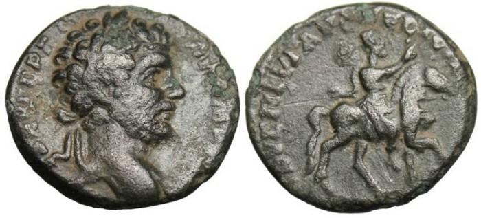 """Ancient Coins - Septimius Severus, Fouree  Denarius """"Emperor on Horse"""" RIC 74 VF"""