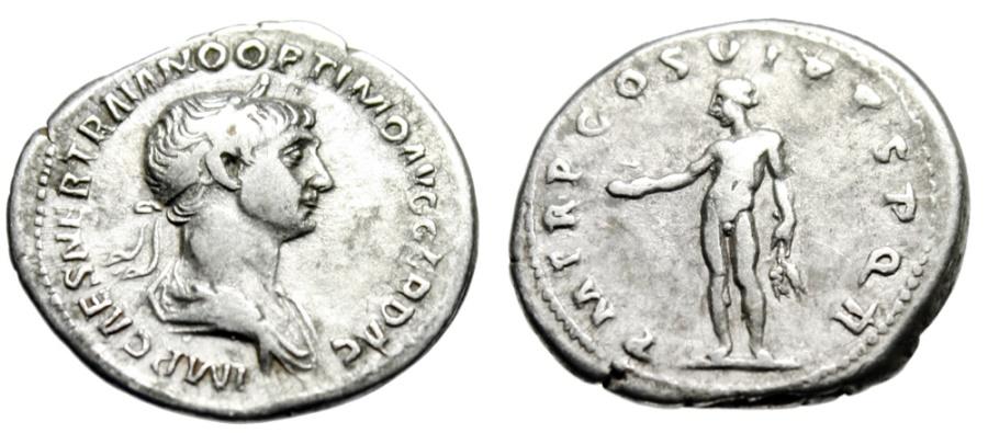 "Ancient Coins - Trajan Silver Denarius ""Genius With Provisions"" Rome 114-117 AD RIC 347 aVF"