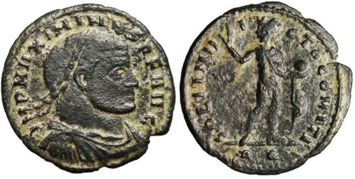 """Ancient Coins - Maximinus II, AE Follis """"Sol"""" Rome RIC 322b Scarce"""