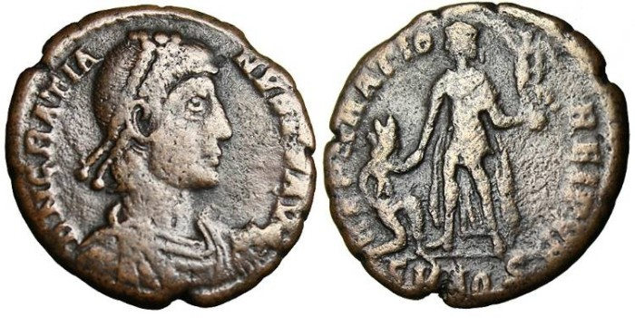 "Ancient Coins - Gratian, AE 2  ""Kneeling woman"" Aquileia 378-383 AD"