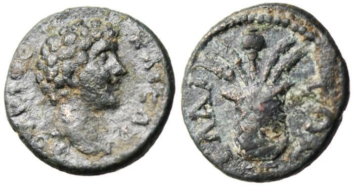 """Ancient Coins - Lucius Verus AE15 """"Kalathos (Modius) Corn & Poppy"""" Aeolis Elaia (Elaea)"""