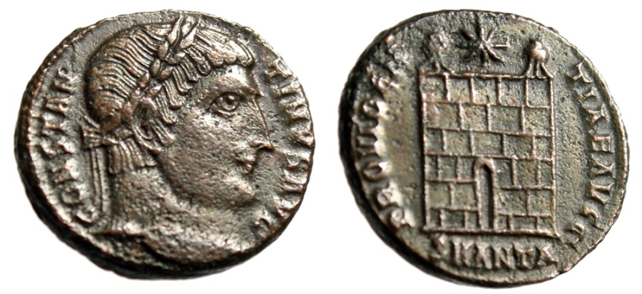 "Ancient Coins - Constantine I The Great AE3 ""PROVIDENTIAE AVGG Campgate"" Antioch RIC 81 Rare gVF"