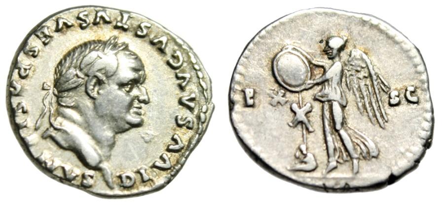 """Ancient Coins - Divus Vespasian Silver Denarius """"EX-SC Victory, Trophy Judaean"""" Judea Capta gVF"""