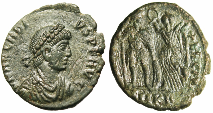 """Ancient Coins - Arcadius AE3 """"VIRTVS EXERCITI Emperor Crowned By Victory"""" Cyzicus RIC 66  gVF"""